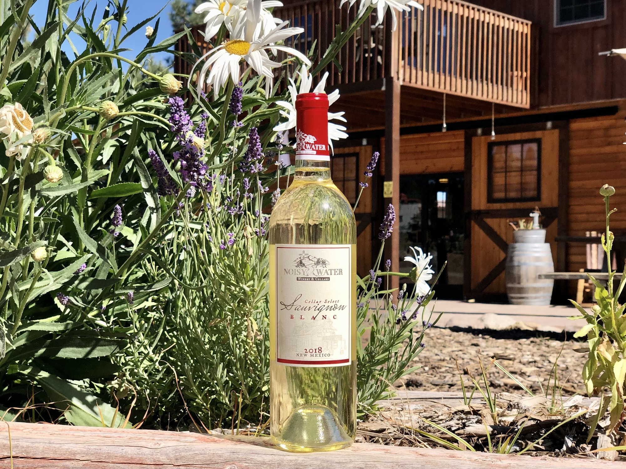 Noisy Water Winery's 2018 Sauvignon Blanc staged with flowers at Enchanted Vine in Alto, New Mexico